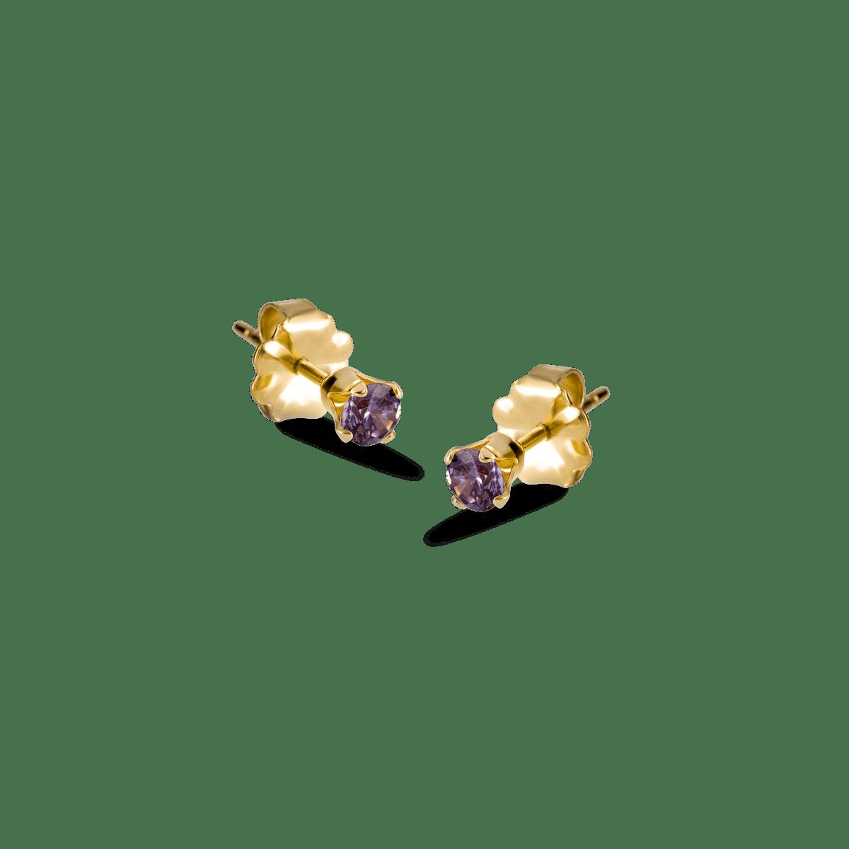 bella birthstone stud gold february