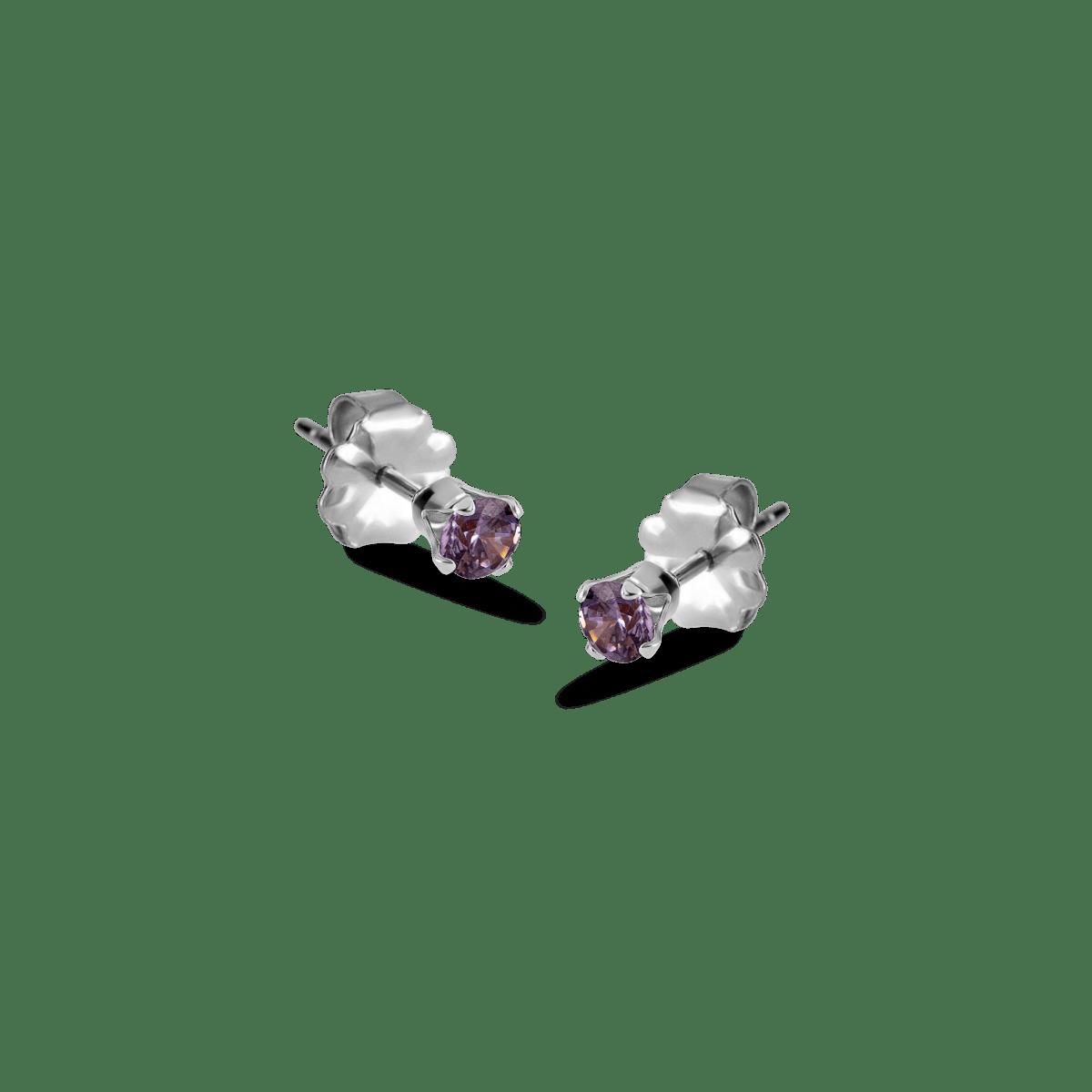 bella birthstone stud silver february