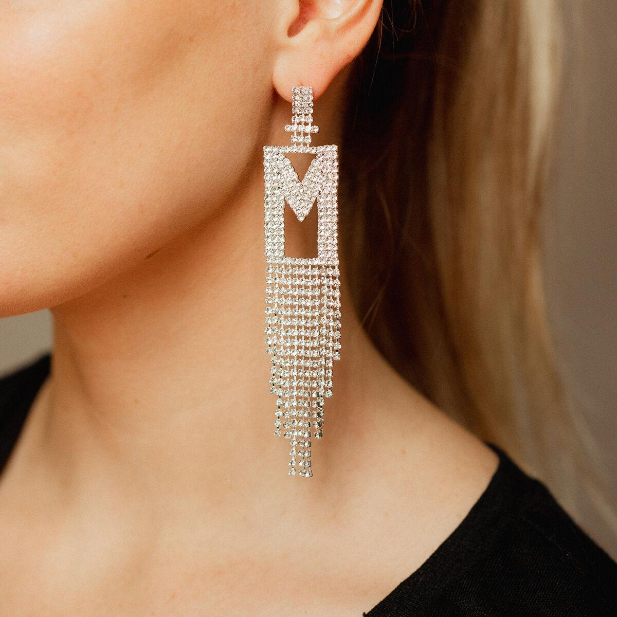 Double Festive Letter Earring Silverplated M