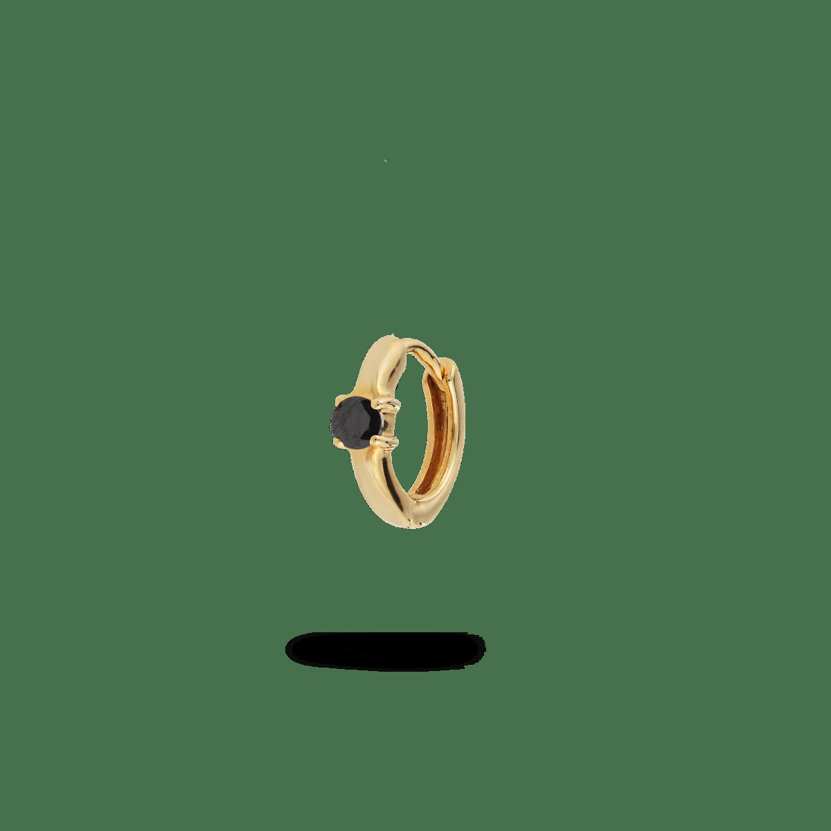Single birthstone huggie earring gold