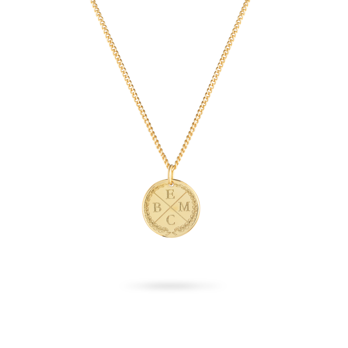 initial coin necklace goud