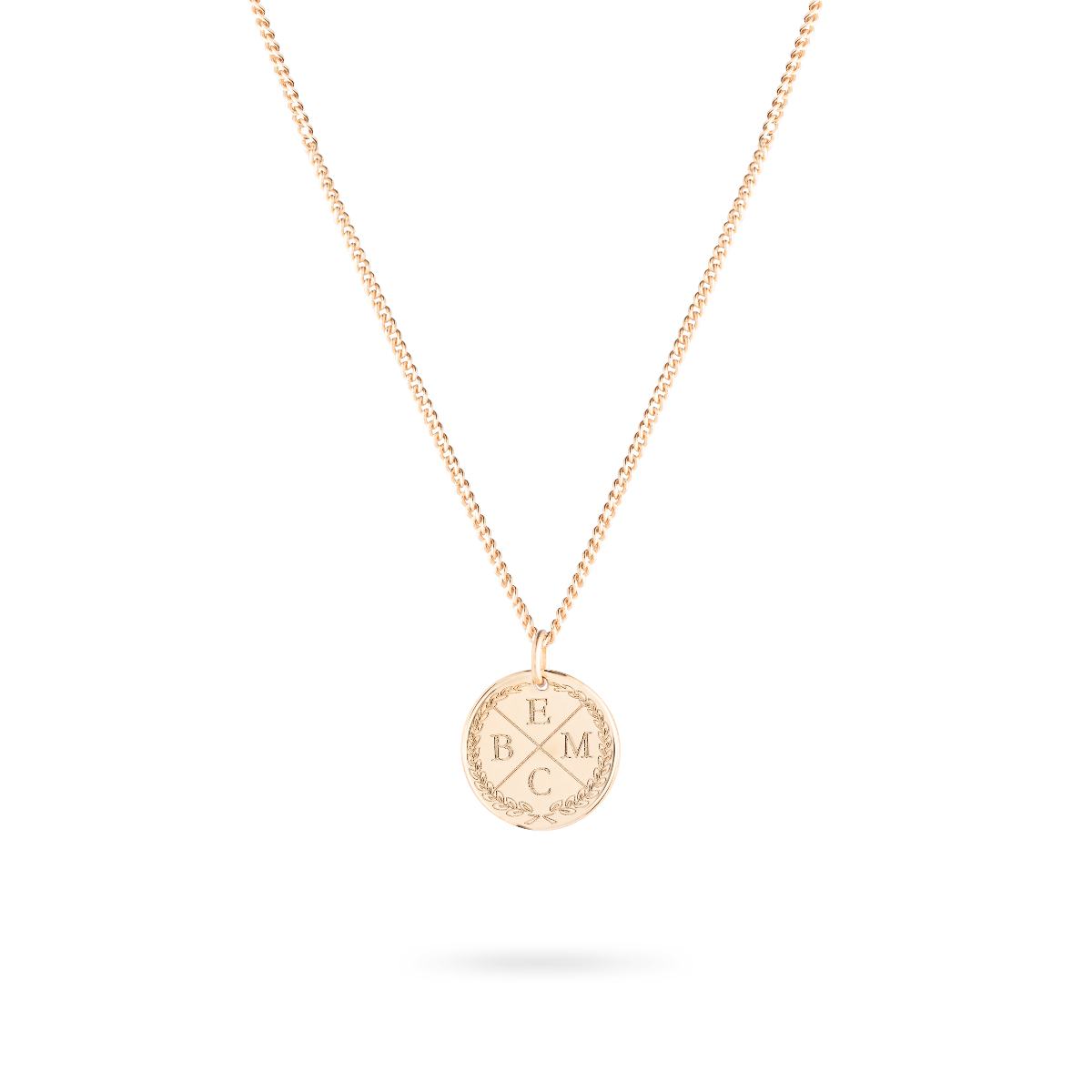 initial coin necklace rose gold