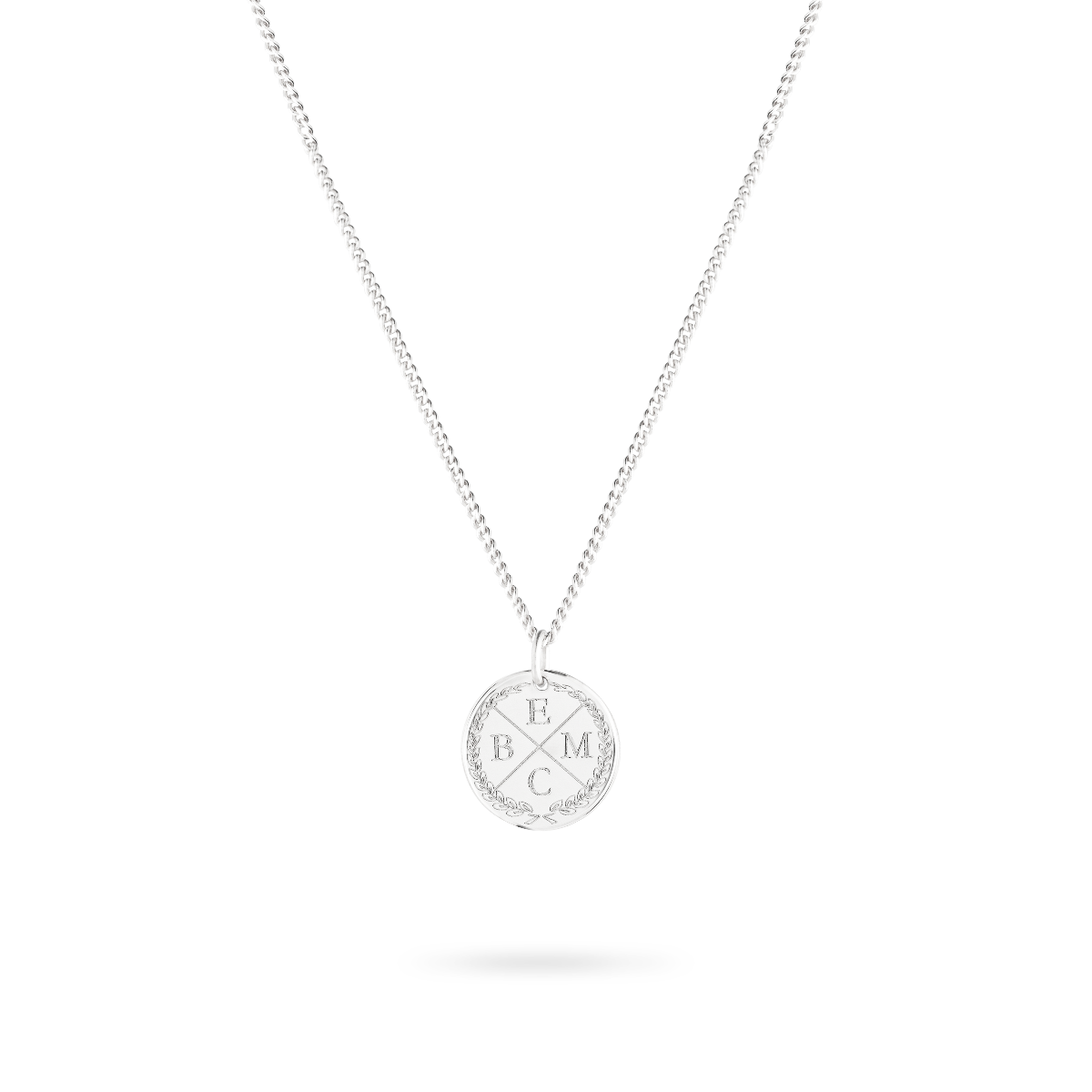 initial coin necklace silber