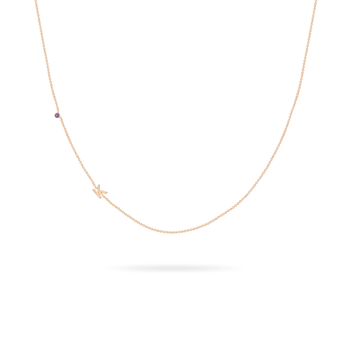 Mini Letter + Birthstone Necklace