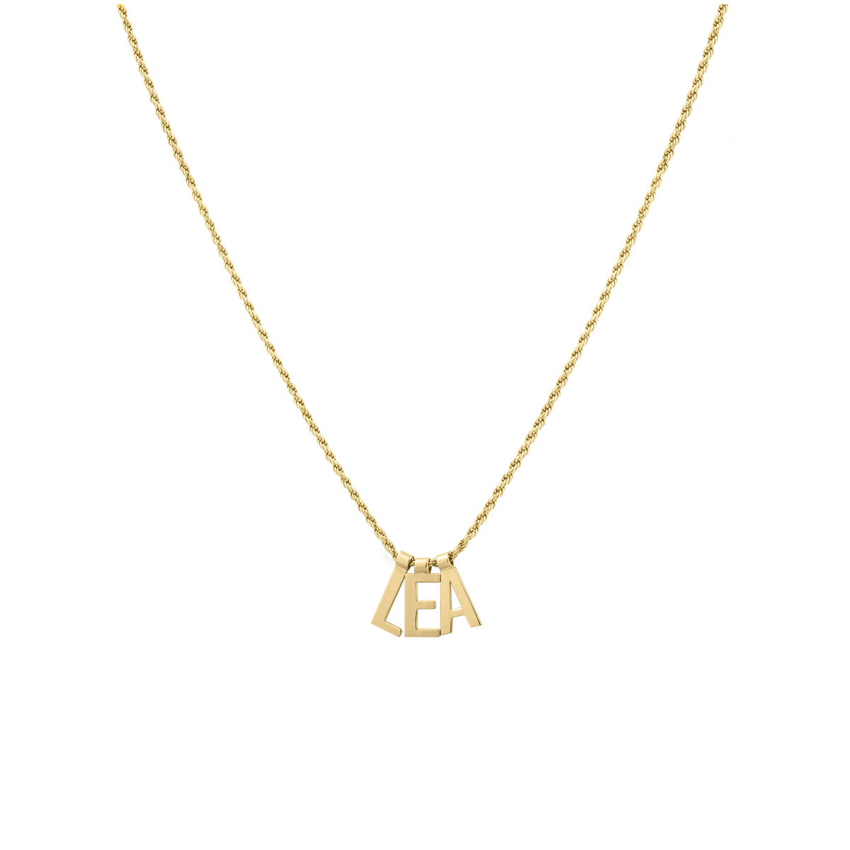 Ruby Rope Letter Necklace gold LEA