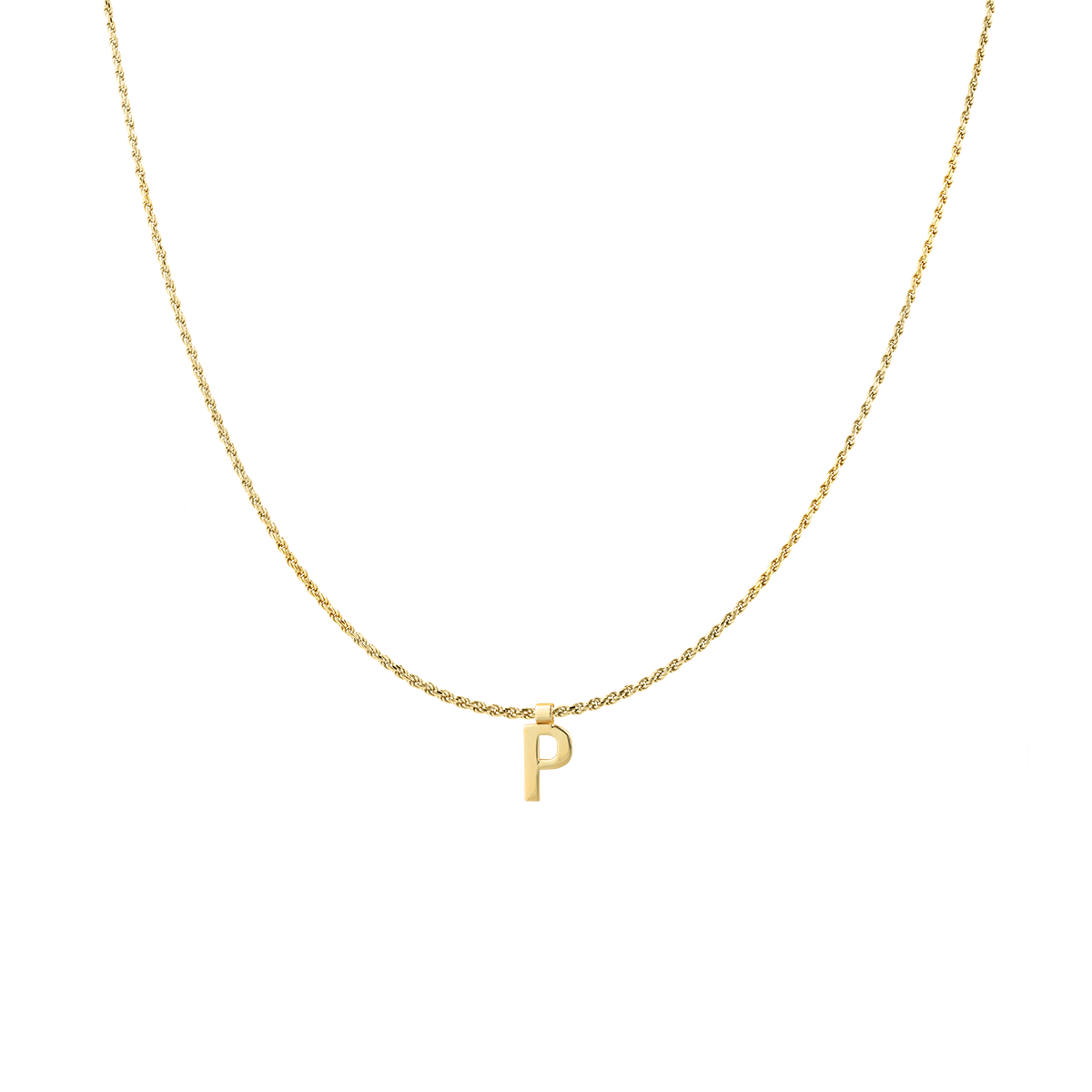 Ruby Rope Letter Necklace goud P