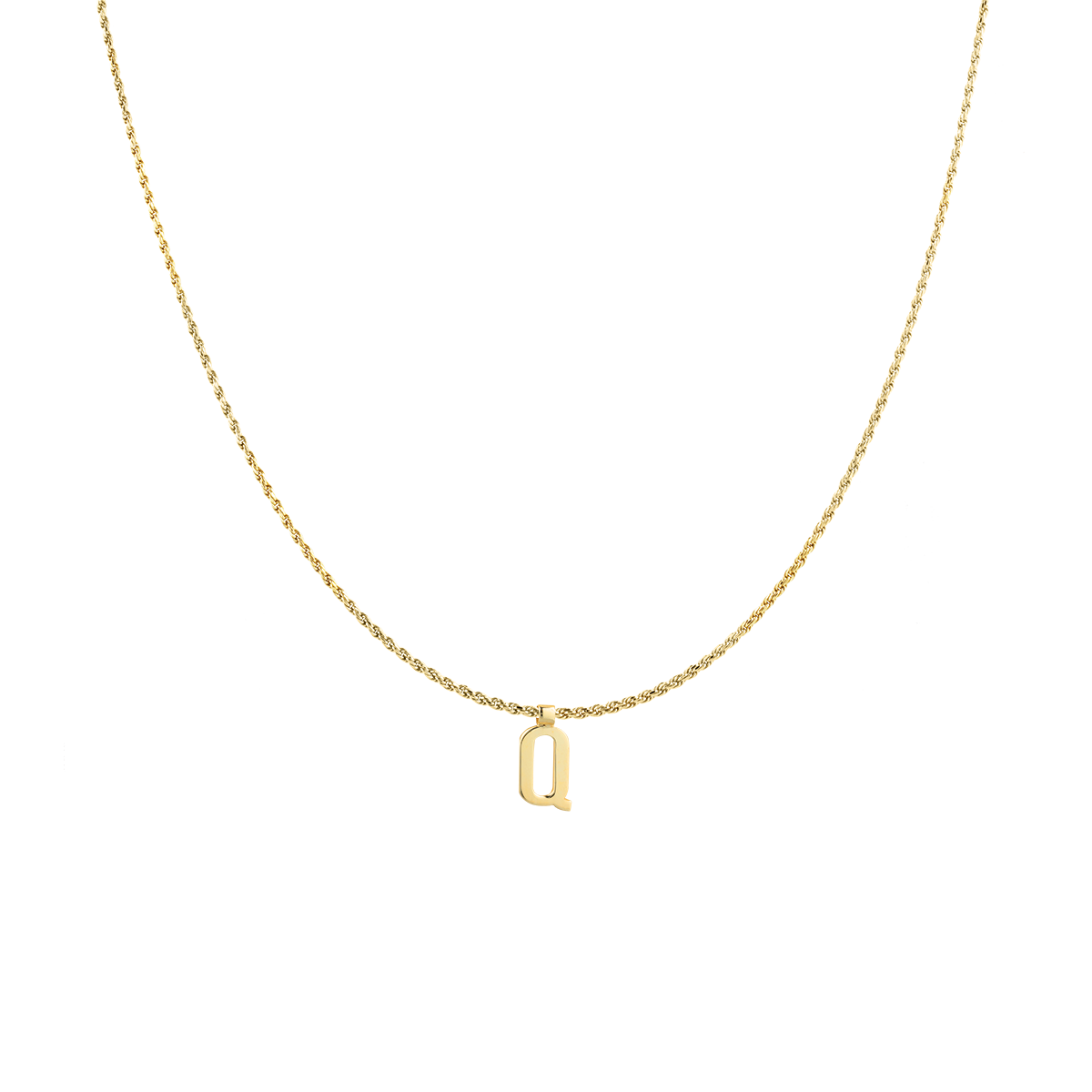 Ruby Rope Letter Necklace gold Q