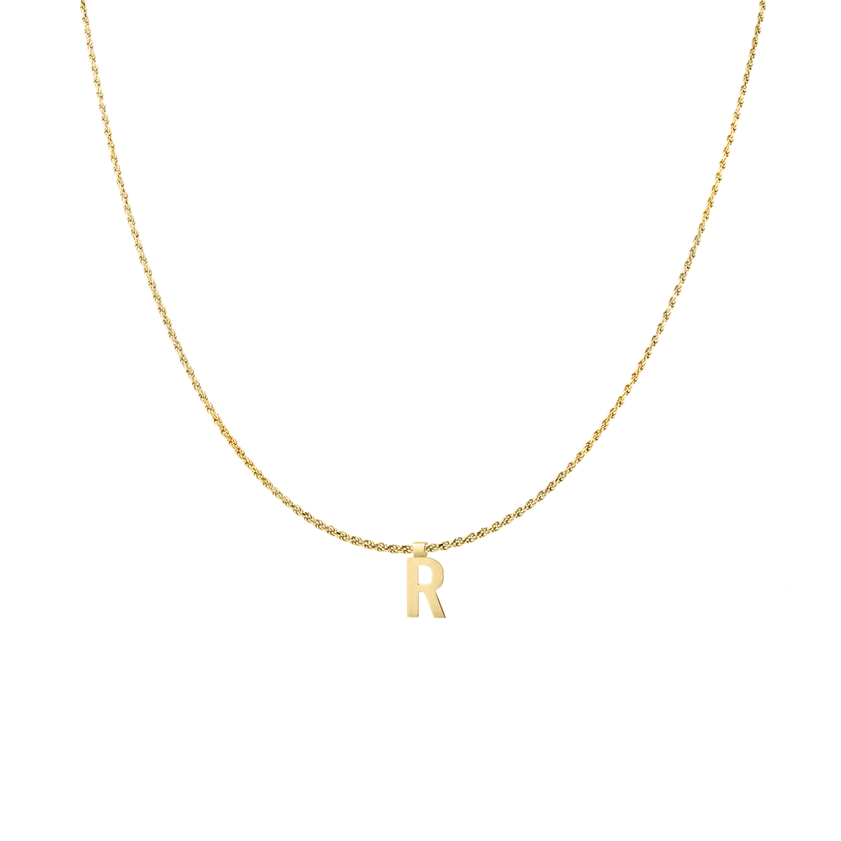 Ruby Rope Letter Necklace gold R
