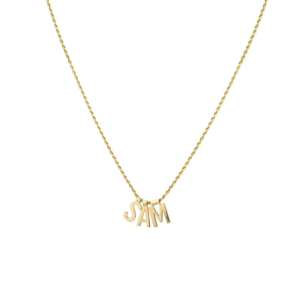 Ruby Rope Letter Necklace gold SAM