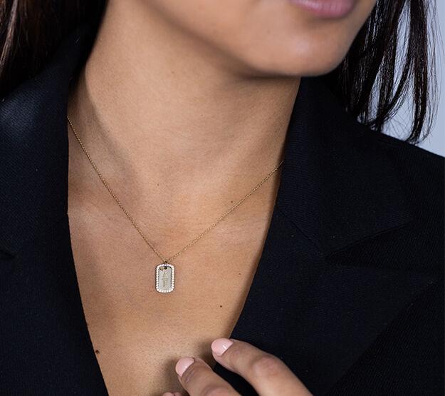 Sylvie tag necklace goud model