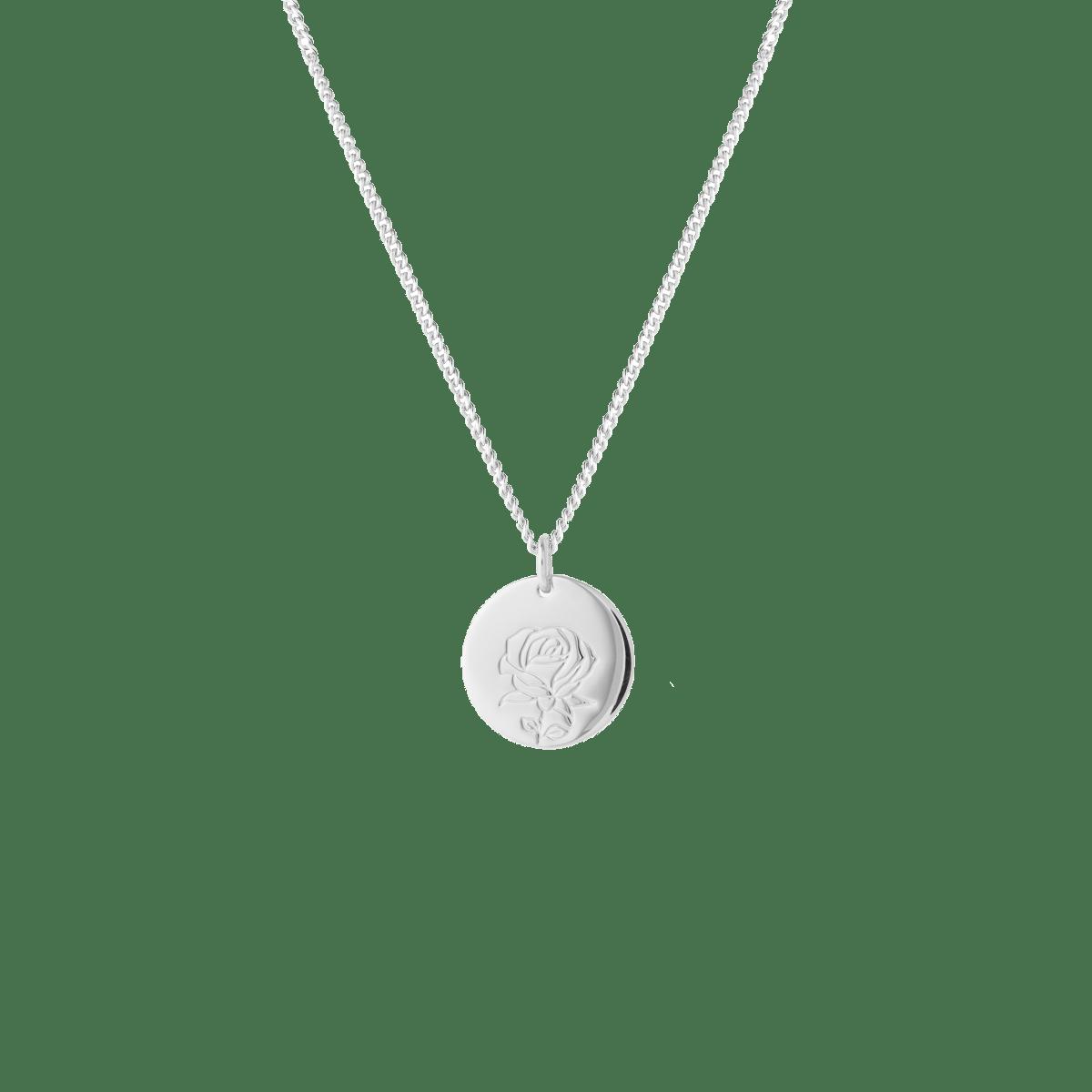 birthflower necklace silver rose