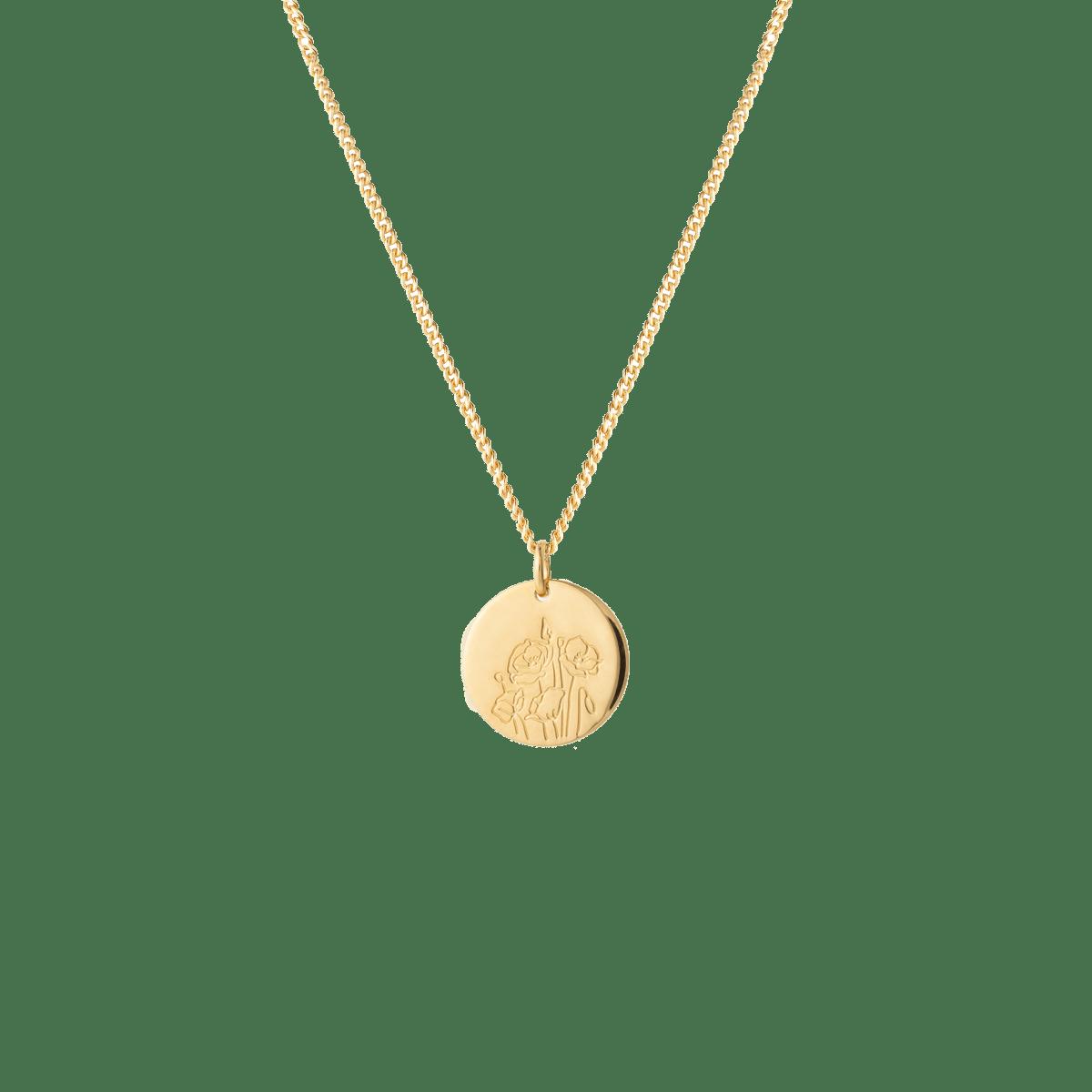 birthflower necklace gold poppy