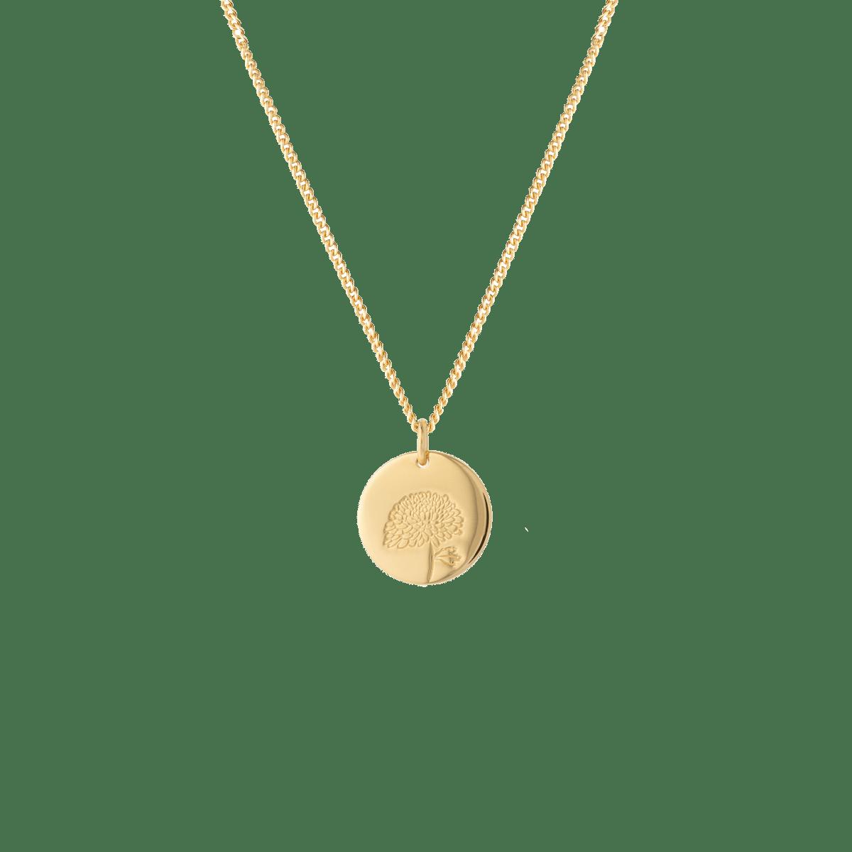 birthflower necklace gold chrysanthemum