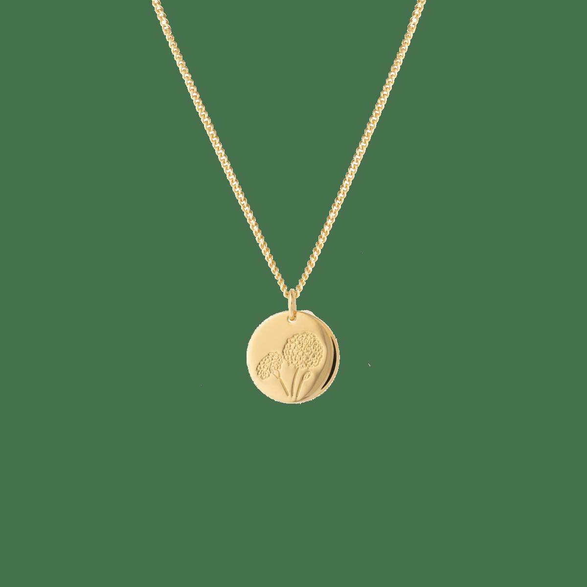 birthflower necklace gold marigold
