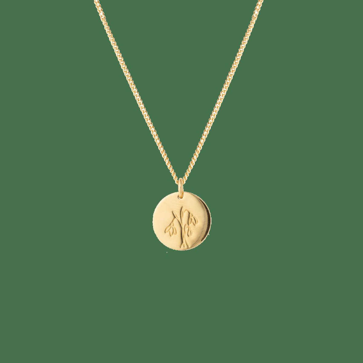 birthflower necklace gold snow drop
