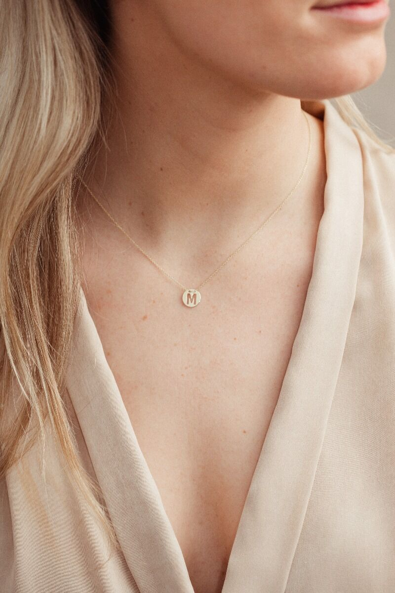 Dana Disc Letter Necklace