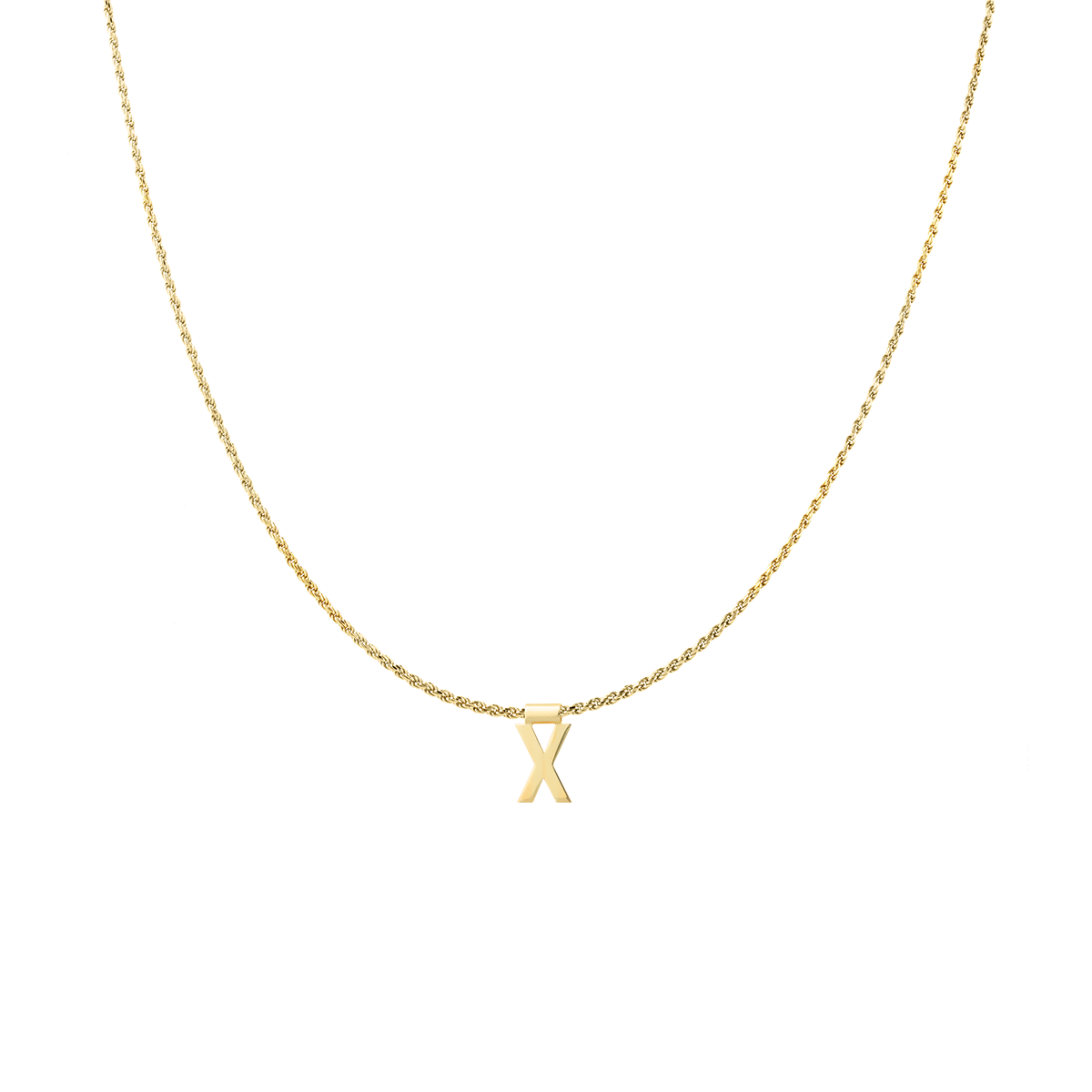 Ruby Rope Letter Necklace gold X
