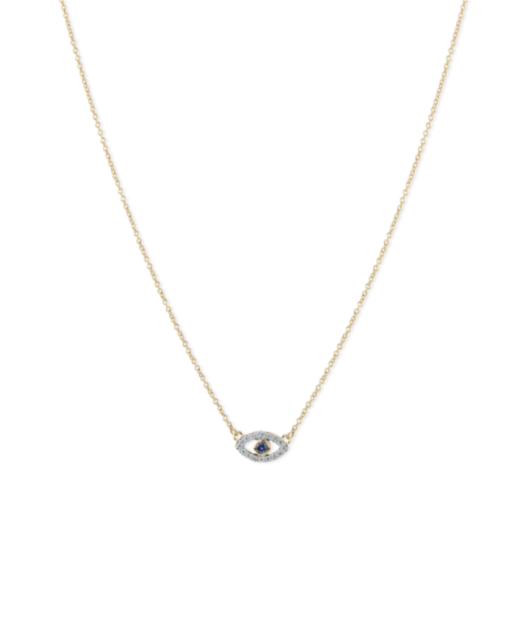 Evil Eye Birthstone Necklace-Solid 14K Yellow Gold-40-42 cm-December - Tanzanite