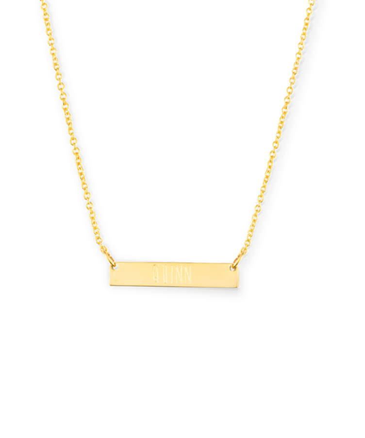 Mini Bar Necklace-Solid 9k yellow-35 cm