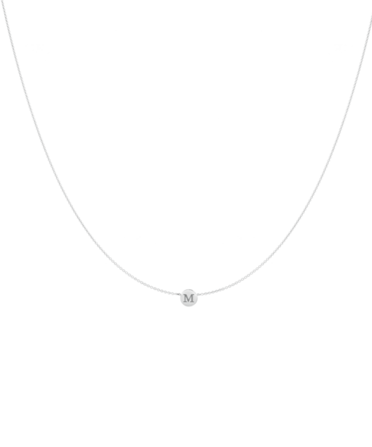 Little Coin Necklace-Solid 14K White Gold-Large: 44 CM