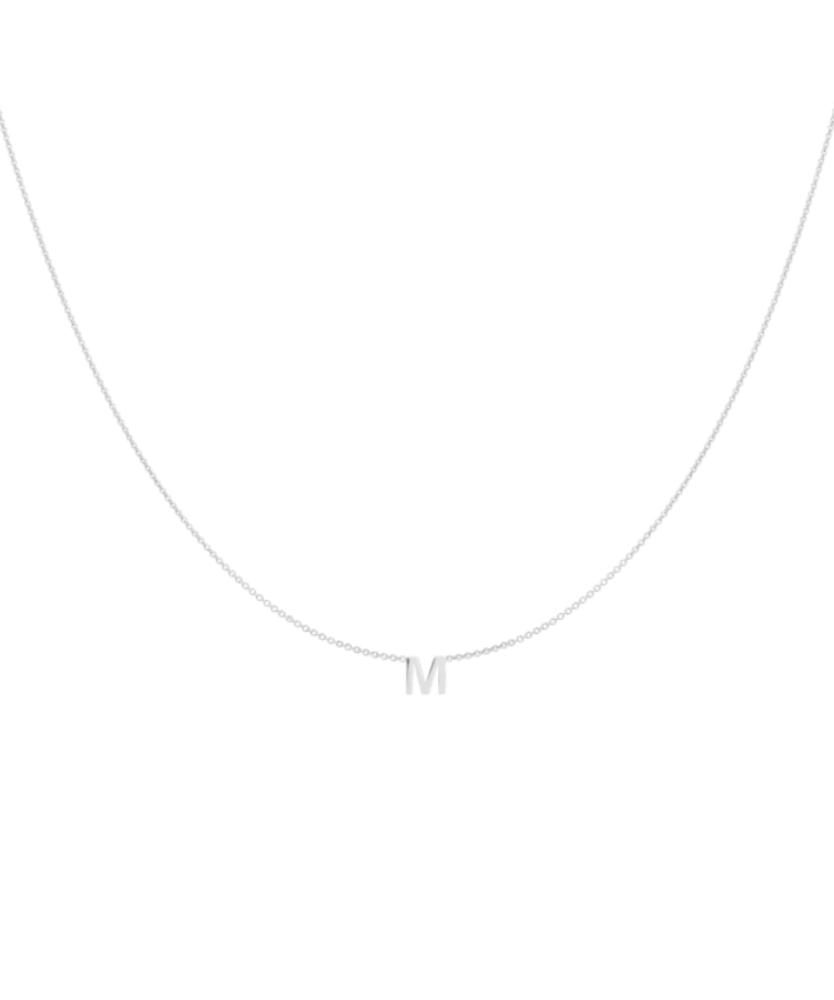 letter necklace white gold
