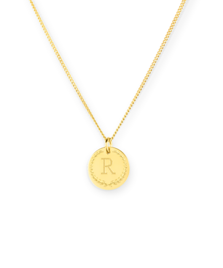 Mini Initial Coin Necklace-Plated -35 cm