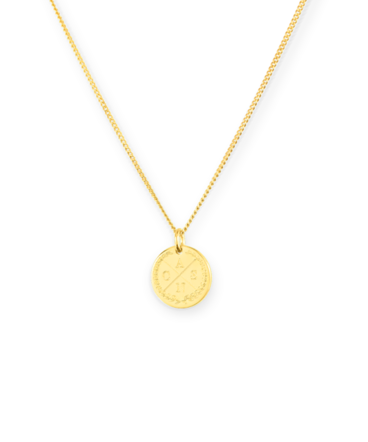 Mini Initial Coin Necklace-35 cm-Solid 9k yellow