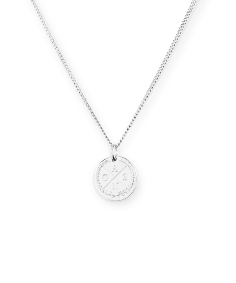 Mini Initial Coin Necklace-35 cm-925 Sterling Silver