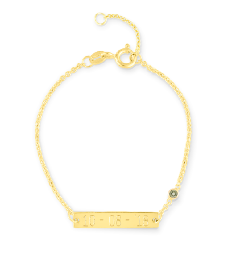 Mini Birthstone Bar Bracelet-Solid 9k yellow-13-15 cm-December - Tanzanite