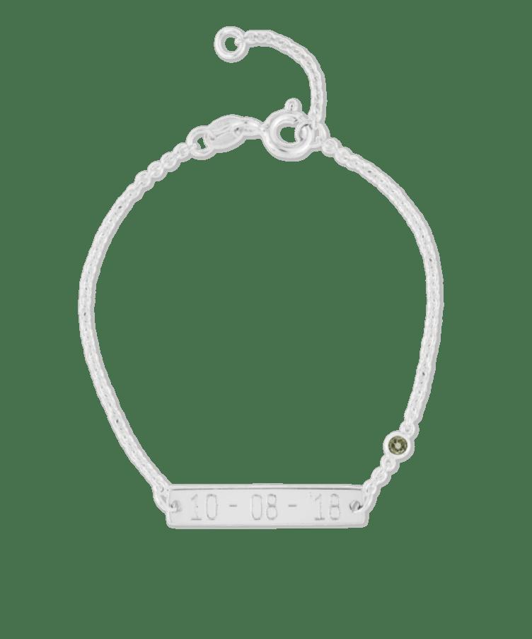 Mini Birthstone Bar Bracelet-925 Sterling Silver-13-15 cm-December - Tanzanite