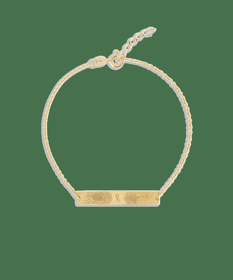 Fingerprint Bar Bracelet-Solid 14K Yellow Gold-Extra Large: 18 CM