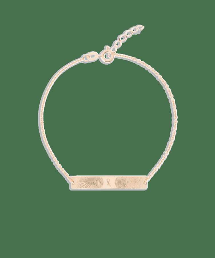 Fingerprint Bar Bracelet-Solid 14K Rose Gold-Extra Large: 18 CM