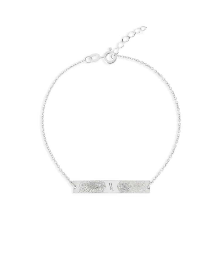 Fingerprint Bar Bracelet-Solid 14K White Gold-Extra Large: 18 CM