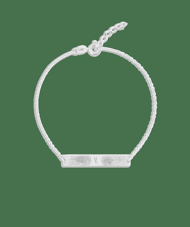 Fingerprint Bar Bracelet-925 Sterling Silver-Extra Large: 18 CM