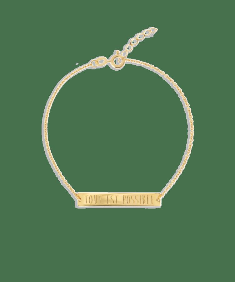 Bar Bracelet-Plated 14K Yellow Gold-Extra Large: 18 CM