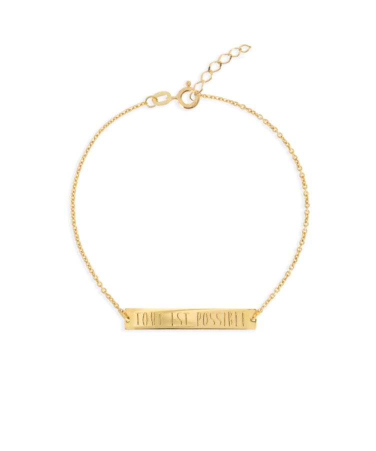Bar Bracelet-Solid 14K Yellow Gold-Extra Large: 18 CM