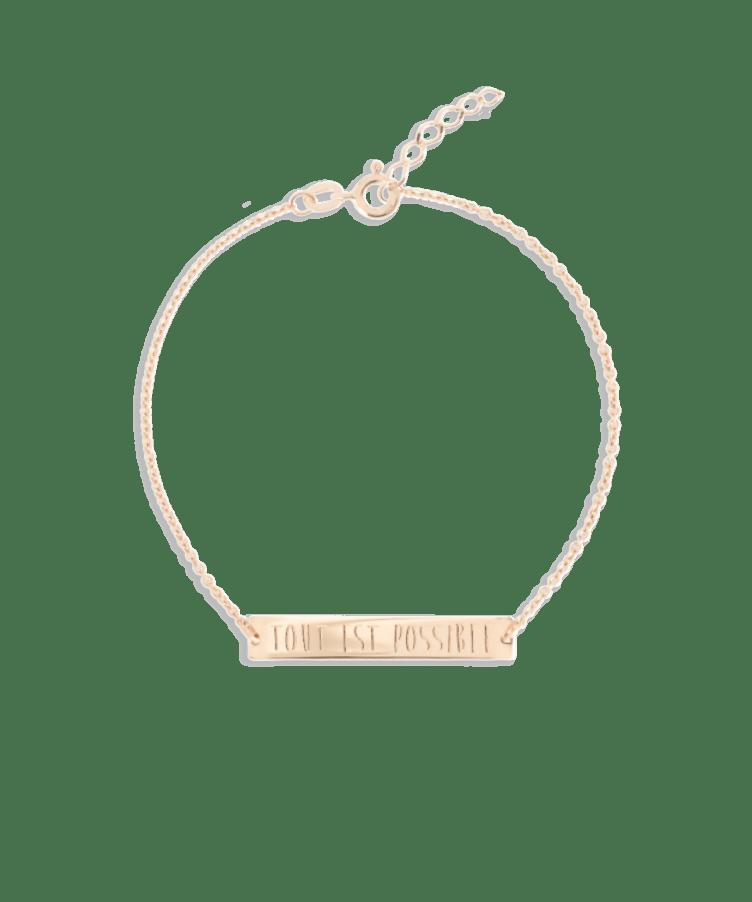 Bar Bracelet-Solid 14K Rose Gold-Extra Large: 18 CM