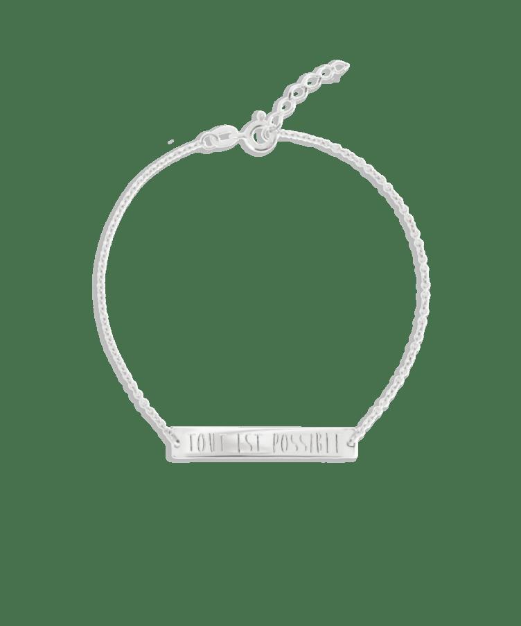 Bar Bracelet-Solid 14K White Gold-Extra Large: 18 CM
