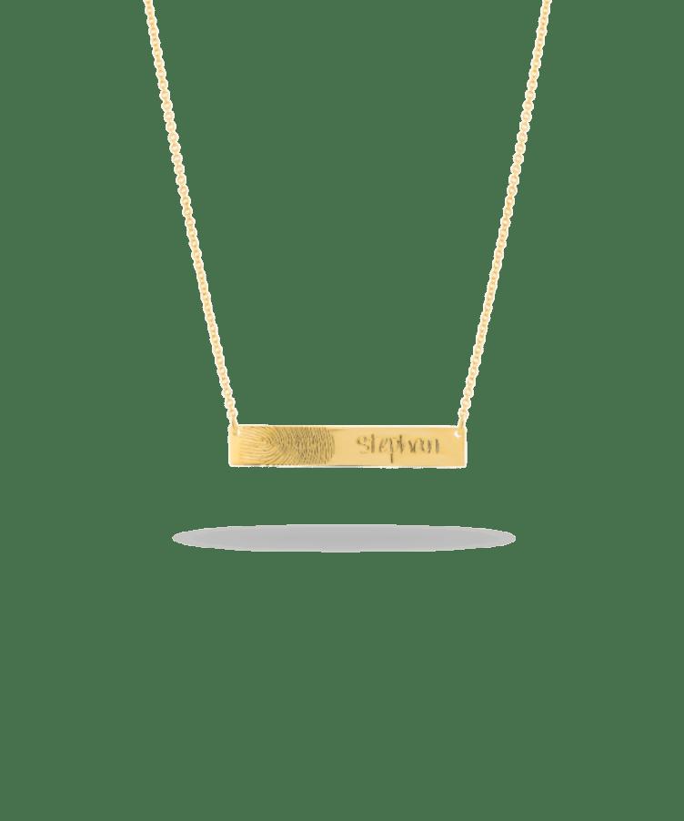 Fingerprint Bar Necklace-Plated 14K Yellow Gold-Large: 44 CM