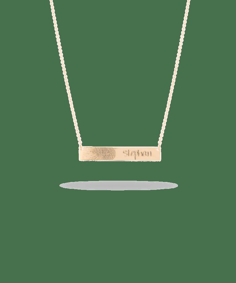 Fingerprint Bar Necklace-Solid 14K Rose Gold-Large: 44 CM