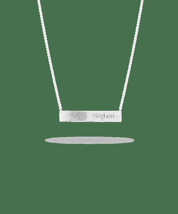 Fingerprint Bar Necklace-Solid 14K White Gold-Large: 44 CM