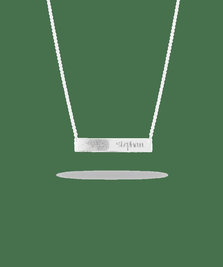 Fingerprint Bar Necklace-925 Sterling Silver-Large: 44 CM