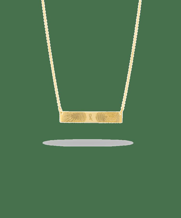Fingerprint Bar Necklace-Solid 9k yellow-Large: 44 CM