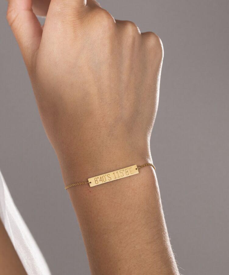 City coordinates bar bracelet
