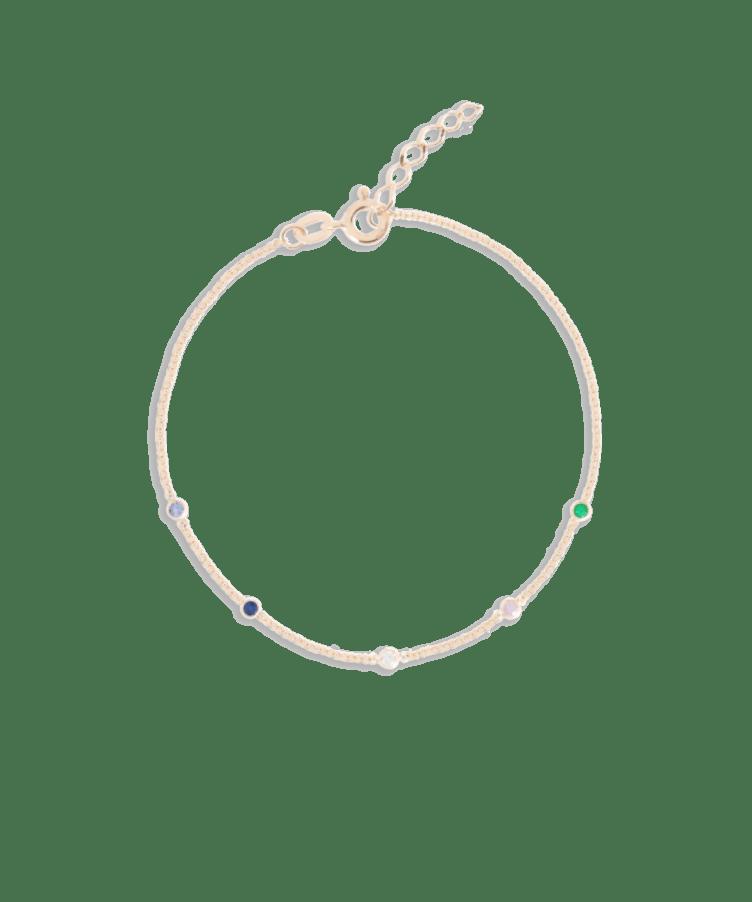 Birthstone Bracelet-Solid 14K Rose Gold-Extra Large: 18 CM