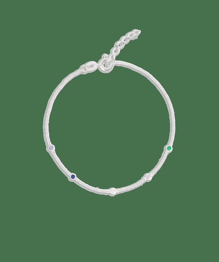 Birthstone Bracelet-Solid 14K White Gold-Extra Large: 18 CM