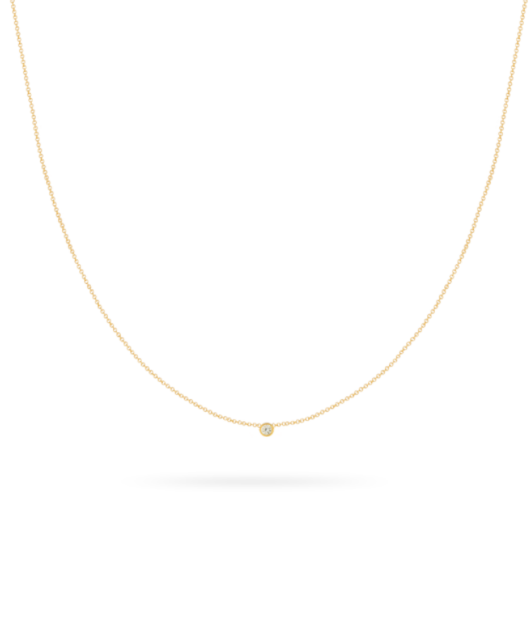 Birthstone Necklace-Solid 14K Yellow Gold-Large: 44 CM
