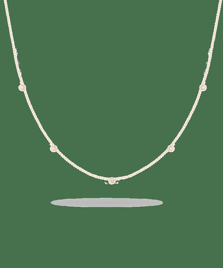 Birthstone Necklace-Solid 14K Rose Gold-Large: 44 CM