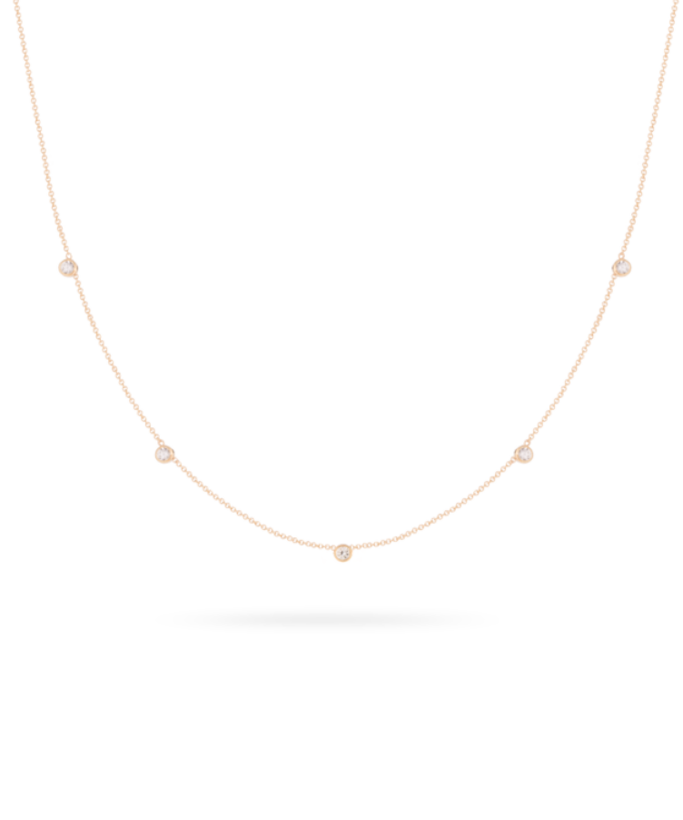 Birthstone Necklace -Solid 9k Rose-Large: 44 CM