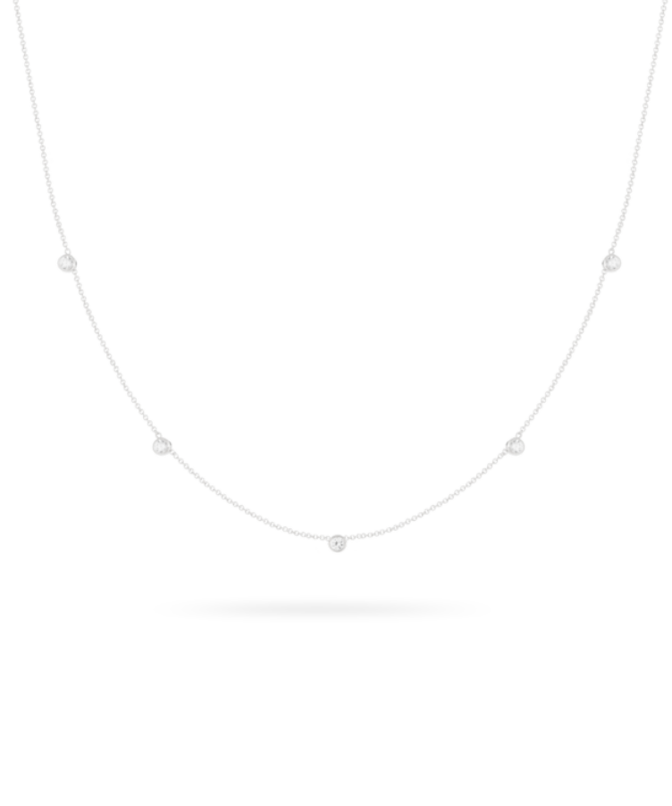 Birthstone Necklace-Solid 14K White Gold-Large: 44 CM